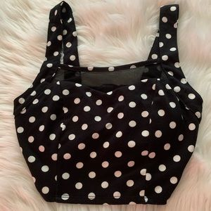 FOREVER 21 BLACK AND WHITE POLKA DOT MESH CROP TOP